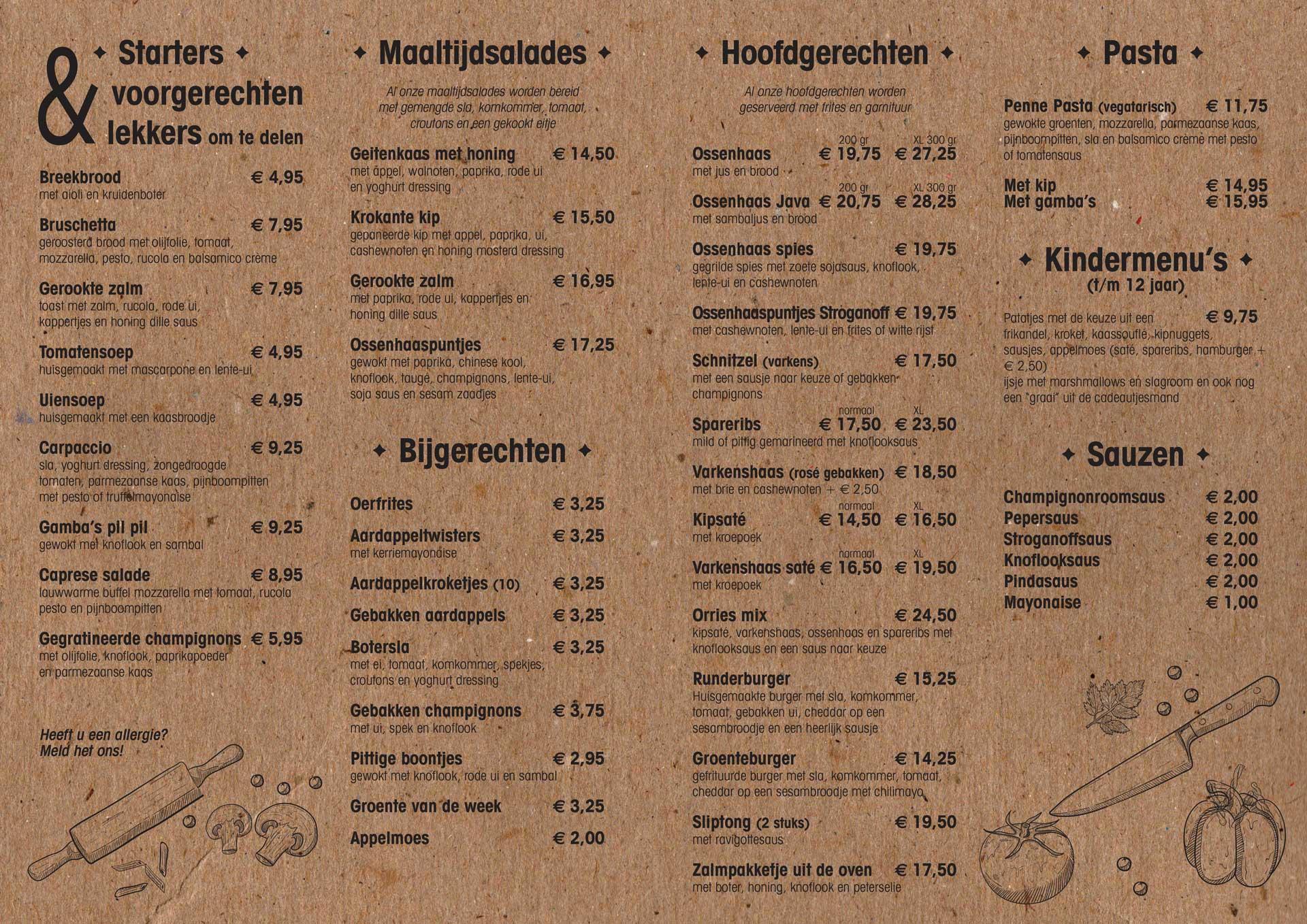 menukaart Orries